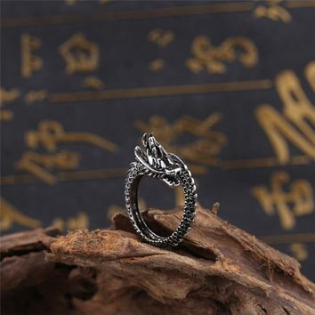 BOAKO Silver Color Retro Dragon Rings for Men Thai Silver Personality Index Male Finger Rings Adjustable Jewelry bague homme