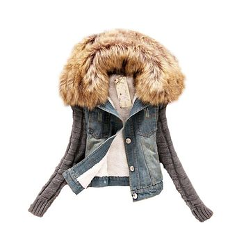 New 2017 Women Spring Autumn Short Denim Jacket Women Winter Slim Yarn Large Fur Collar Lamb Cotton Denim Jeans Outerwear C006
