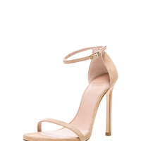 Suede Nudist Heels in Nude Suede