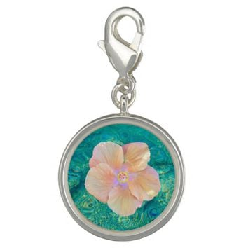 Coral hibiscus on turquoise water bracelet charm