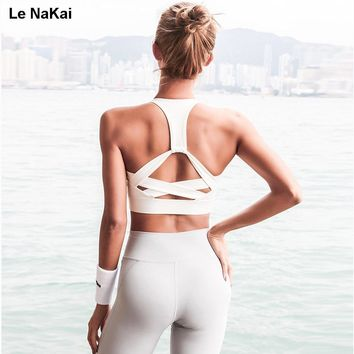 Le NaKai High support strap sports bra cross back padded retro yoga top bra Push up gym running bra athletic vest hollow out bra