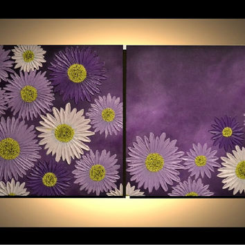 "36"" Original Abstract Artwork, Modern, Contemporary, Fine Art, White, Lavender, Purple, Aster Flowers, Acrylic Painting, great gift for her"