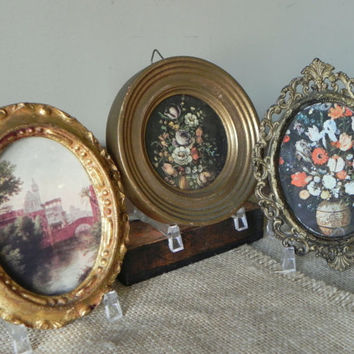 Vintage Italian florentine landscape picture frame collection italian gold gilt portraits