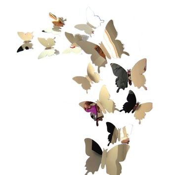 Wall Stickers Decal Butterflies 3D Mirror Wall Art Home Decors decals for kitchen home decoration home decor living room nt0