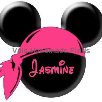 Pink Pirate Minnie Mouse Head Disney World Personalized w/ Name/Date Printable Iron On Transfer DIY Instant Download