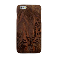Tiger Pattern iPhone 6 Plus Wooden Case, iPhone 6 Wood Case, Real Handmade Natural Wood Cover