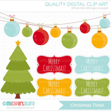 Christmas Time / Christmas Tree Clip Art / Digital Clipart - Instant Download