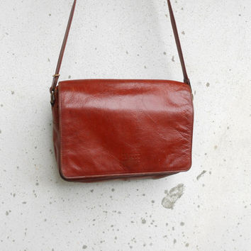 Vintage TEXIER Leather Messenger Bag , Crossbody Bag / Medium / Made in France /