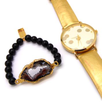 Christmas Gifts! Agate and Onyx Bracelet + Free watch!