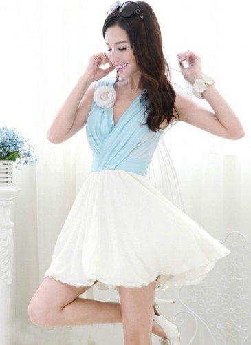 Marie Antoinette Style Light Blue And White Color Block V Neck Chiffon Dress   GlamUp - Clothing on ArtFire