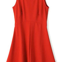 Red Ruffles Sleeveless Dress