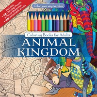 Color To Calm Adult Coloring Book with Pencils - Animals