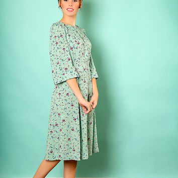 Mint floral dress – Holiday dress - Modest midi dress for women