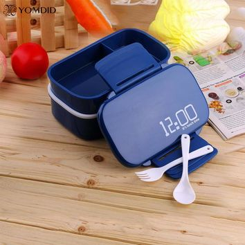 2 Layer Plastic rice Box set Tiber Bento Microwaveable Dinnerware Set Large Capacity Meal Box Food Containers