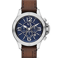 AX Armani Exchange Blue Dial Leather Strap Chronograph Watch - Brown