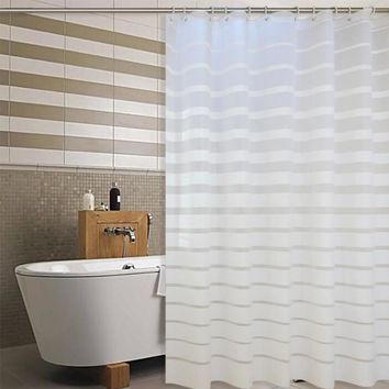 Plastic Shower Curtain White Striped  PEVA Curtains for Home Hotel Bath Room Eco-friendly