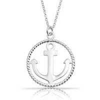 Bling Jewelry Nautical Anchor Twist 925 Sterling Silver Pendant Necklace 16in