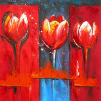 Trilogy of Tulips Oil Painting