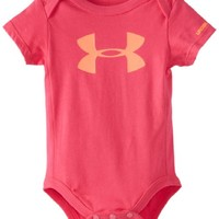 Under Armour Baby-Girls Newborn Big Logo Chest Short Sleeve Bodysuit, Pink, 3-6 Months
