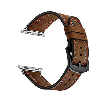 Apple Watch Band Luxury Genuine Leather Watch Band Crazy Horse Double Line Strap Bracelet Replacement Wrist Band With Adapter Clasp for iWahtch & Sport & Edition--Single Tour 38mm