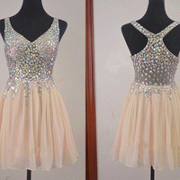 Champagne V Neck Crystal Short Homecoming Dress,Chiffon Homecoming Dresses