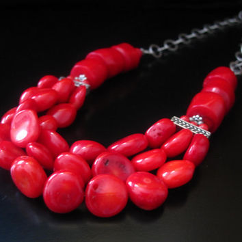 Red Coral Statement Necklace, Red Coral Coins, Red Coral Round Beads, Red Coral Barrels, Coral Jewelry, Coral Necklace, Red Coral Jewelry