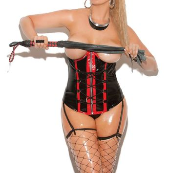 Plus size Vinyl cupless corset with zip front and lace up detail  and boning Adjustable and detachable garters  Black/Red