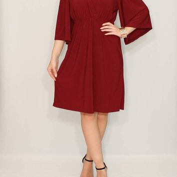 Day Dress Burgundy dress Kimono Dress Short dress