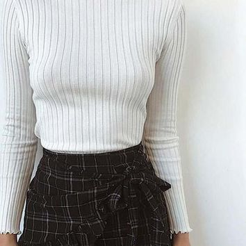 Rib Knitted High Neck Top