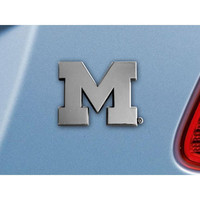 Michigan Wolverines NCAA Chrome Car Emblem (2.3in x 3.7in)