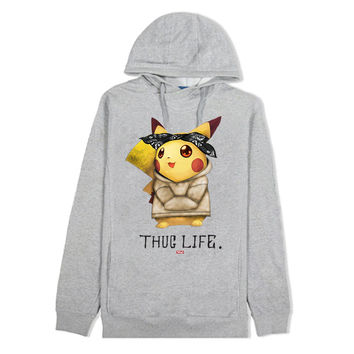 Thug Life IV Pikachu Custom Gray French Terry Hoodie - Low Stock