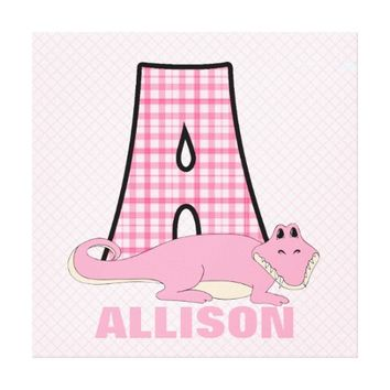 Pink Alligator Letter A Custom Wall Art Canvas Print