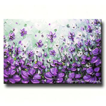SOLD ORIGINAL Art Abstract Painting Lavender Flowers Mint Green Purple Poppies Textured Large Wall Decor