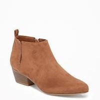 Sueded Ankle Boots for Women  old-navy
