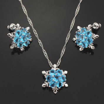 London Blue Topaz Snowflake Pendant, Necklace & Earrings Set [LIMITED SUPPLY]