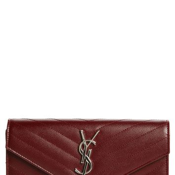 Saint Laurent M atelassé Leather Envelope Wallet | Nordstrom