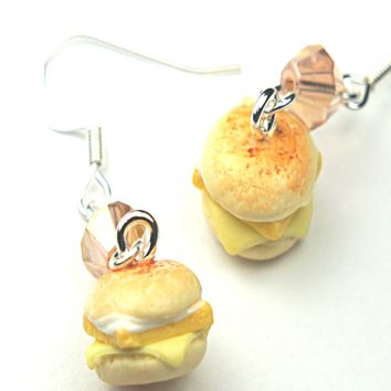 fish sandwich dangle earrings