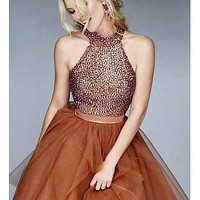 Buy discount Chic Tulle & Satin High Collar A-line Homecoming Dresses with Beadings at Dressilyme.com
