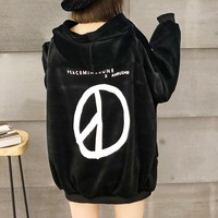 """""""Peaceminusone"""" Women Casual Loose Fashion Velvet Letter Pattern Print Hooded Long Sleeve Pullover Sweater Tops"""