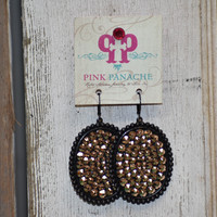 Pink Panache blk/bronze large oval earrings