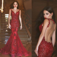 Sexy Burgundy Mermaid Prom Dresses 2017 Evening Gowns Sparkly Long Party Dresses vestido de noche Saudi Arabia Vintage M2722