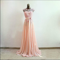 A line hand-embroidered applique bridesmaid dress long formal evening dress party dress Pageant dress
