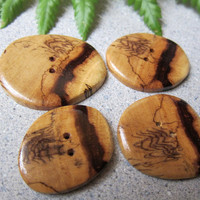 4 Unique, Exotic Wood Buttons Spalted Tamarind Handmade ExoticWoodButtonsAnd Ecofriendly repurposed