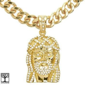 "Jewelry Kay style Men's Iced Out CZ Jesus Face Pendant 24"" Heavy Cuban Chain Necklace KC 8010 G"