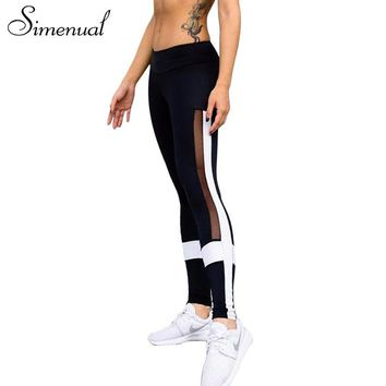 Simenual Patchwork mesh legging sportswear athleisure slim hollow out leggings for fitness women pants black white jeggings sale