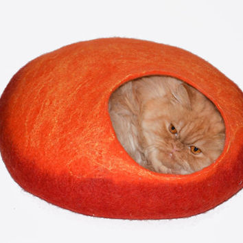 Size M Cat Bed, Cave, Pets House orange with red, cats house wool handmade, bright neon READY TO SHIP