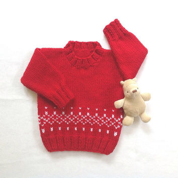 Red baby sweater - 6 to 12 months - Knit red jumper - Baby shower gift - Infant red sweater - Baby knits