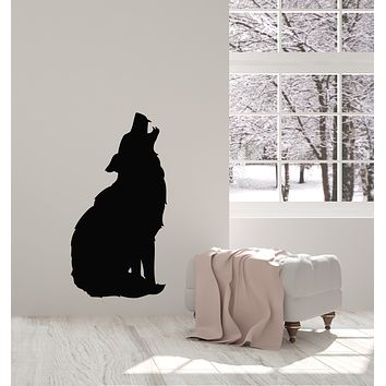 Vinyl Wall Decal Silhouette Wolf Predator Animal Wolf's Howl Stickers Mural (g467)