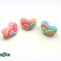 Kawaii rainbow heart brooch pin - Fairy kei - sweet lolita