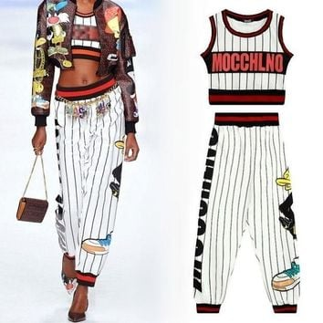 ONETOW women fashion crop tank top harem capri pants ladies street style HARAJUKU sexy outfit stripe cartoon cute 2 two piece set woman